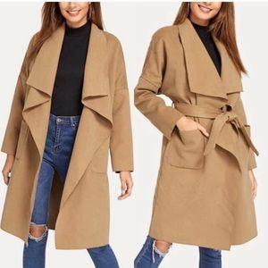 NWOT Tan Waterfall Coat Shein Size M
